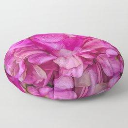 Wet Pink Flowers Floor Pillow