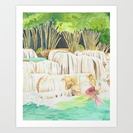 Mermaid at a Waterfall Art Print