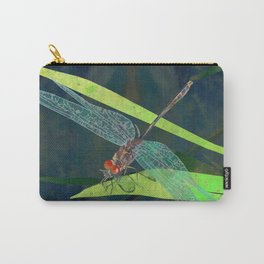 Green Dragonfly Pond Illustration | Watercolor Dragonfly Art Print | Modern Garden Wall Art Carry-All Pouch