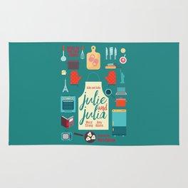 Julie and Julia, minimal movie poster, Meryl Streep, Amy Adams, Nora Ephron film, Julia Child, cook Rug