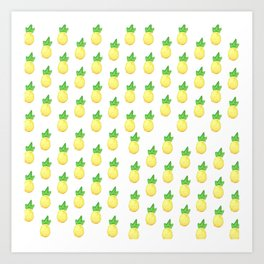 Tropical watercolor green yellow hand painted pineapple Art Print