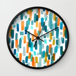 Coral and Teal Watercolor Abstract Wall Clock