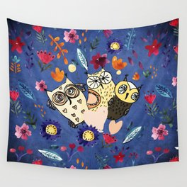 3 Wise Owls in Flower Garden at Night Wall Tapestry