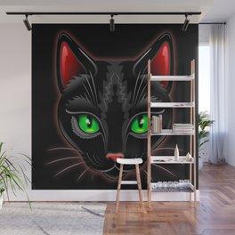 Black Cat Portrait Wall Mural