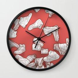 Falling Objects: Kicks on Red Wall Clock