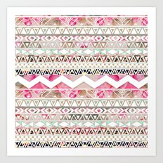 Aztec Spring Time! | Girly Pink White Floral Abstract Aztec Pattern Art Print