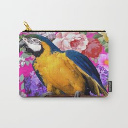 Blue & Gold Macaw Parrot Fuchsia Pink Floral Carry-All Pouch