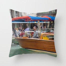 Macho Cigarette Smoking Boatman in Venice Throw Pillow