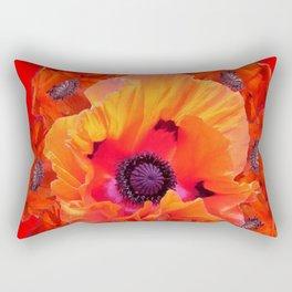 MODERN  RED-ORANGE POPPY FLOWERS  PATTERNS Rectangular Pillow