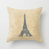 eiffel tower Throw Pillows featuring Eiffel Tower by Zen and Chic