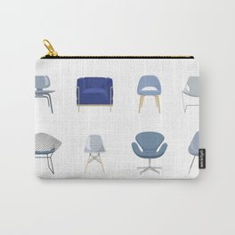 Set of Blue Midcentury Chairs Carry-All Pouch