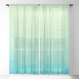Mosaic Tropical Gradient - Emerald and Sapphire Sheer Curtain