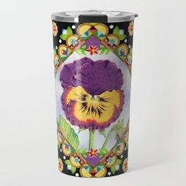 Purple Pansy Portrait Travel Mug