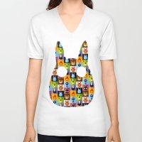 calcifer V-neck T-shirts featuring Miyazaki's by badOdds
