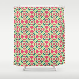 Simple geometric stripe flower red and green Shower Curtain