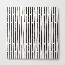 Distressed Hand Drawn Stripe Pattern Metal Print