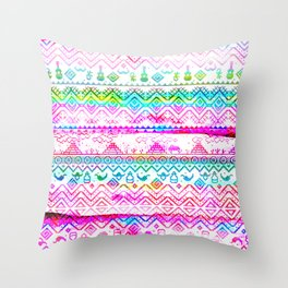 bohemian pattern in pink and turqupise soft colors Throw Pillow