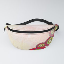 Abstract flowers on pastel bark texture Fanny Pack