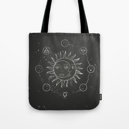 Moon, sun and elements Tote Bag