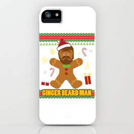 Ugly Ginger Beard Man Holiday Gingerbread Christmas graphic iPhone Case
