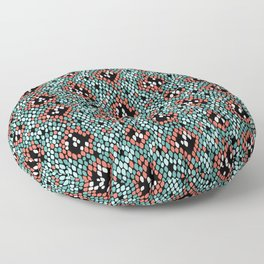 Snakeskin Pattern (Coral and Mint) Floor Pillow