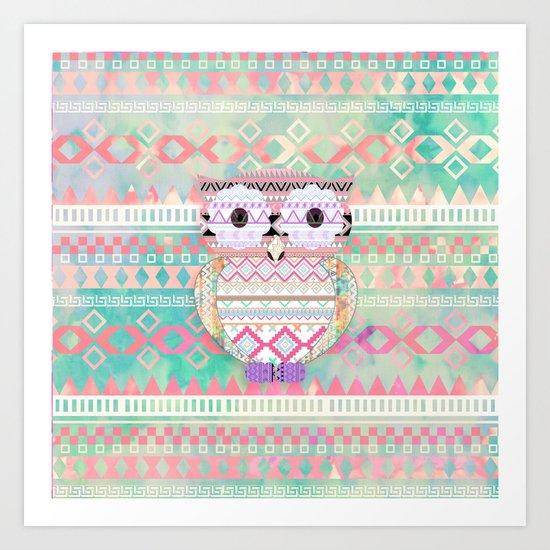 Hoot!  Whimsical Tribal Owl Pastel Girly Tie Dye Aztec Art Print