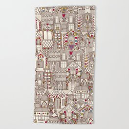 gingerbread town Beach Towel
