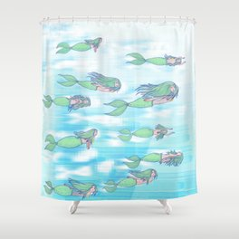 Mermaid migration Shower Curtain