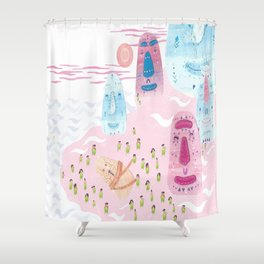 He swam to Easter Island Shower Curtain