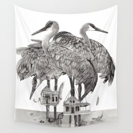 Birdhouses Wall Tapestry