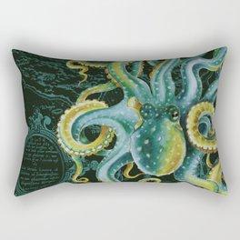 Green Octopus Vintage Map Dark Green Rectangular Pillow