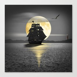 A ship with black sails Canvas Print