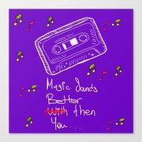 cassette Canvas Prints featuring Cassette by Melis Kalpakçıoğlu