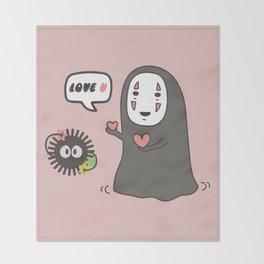 Studio Ghibli No-Face in Love of SootBall Throw Blanket