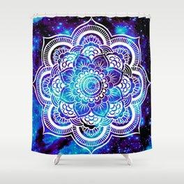 Mandala : Bright Violet & Teal Galaxy Shower Curtain