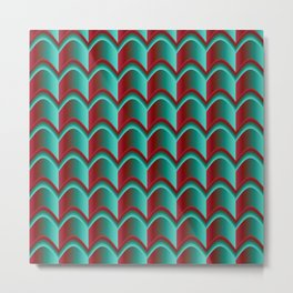 Abstract Green&Red Pattern Metal Print