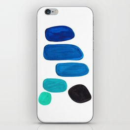 Colorful Mid Century Modern Pop Art Minimalist Style Teal Blue Aquamarine Bubbles White Background iPhone Skin