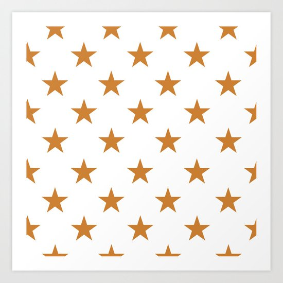 Stars (Bronze/White) Art Print