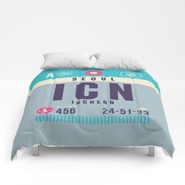 Retro Airline Luggage Tag - ICN Seoul Korea Comforters
