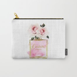 Pink Peony, Make up, Pink, gold, Perfume, Perfume bottle, with flowers, Blush Pink, Roses Watercolor Carry-All Pouch