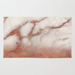 Shiny Copper Metal Foil Gold Ombre Bohemian Marble Rug