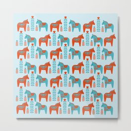 Scandinavian Folk Art Dola Horses and Flowers Pattern Metal Print