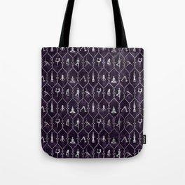 Pearl Yoga Asanas pattern on amethyst Tote Bag