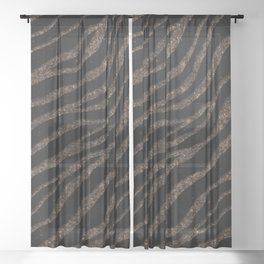 Ripped SpaceTime Stripes - Glitter Brown Sheer Curtain