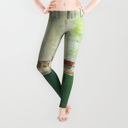 Limerick Irish Ireland Abstract Green Modern Art Landscape Leggings