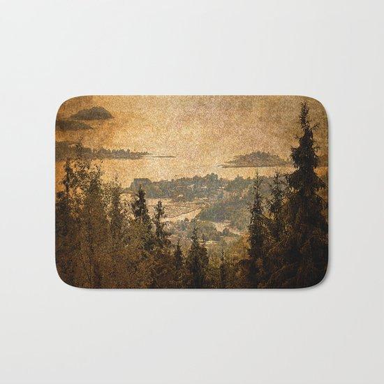 vintage forest landscape Bath Mat