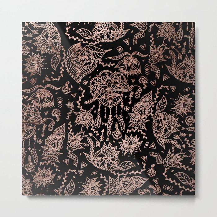 Chic dreamcatcher rose gold black illustration Metal Print