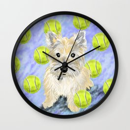 Miss Caroline the Cairn Terrier is Obsessed About Fetching Tennis Balls Wall Clock