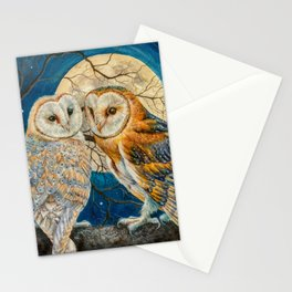 Owls Moon Stars Stationery Cards