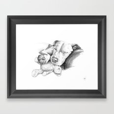 Let Sleeping Dogs Lie :: Grayscale Framed Art Print
